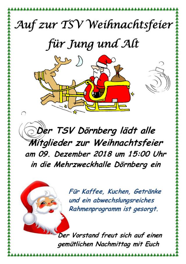 Einladung Weihnachtsfeier Verein.Einladung Zur Tsv Weihnachtsfeier 2018